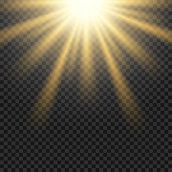 Flara obiektywu słońce wektor światło na przezroczystej siatce