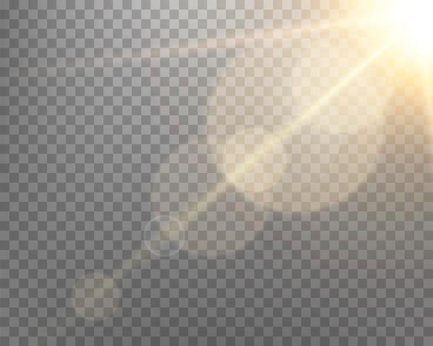 Flara obiektywu słonecznego, lampa błyskowa z promieniami i światłem punktowym. złota świecąca eksplozja wybuchu na przezroczystym tle. ilustracja wektorowa.