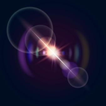 Flara obiektywu wektorowego z efektem widma tęczy
