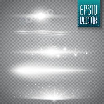 Flary obiektywu na białym tle. ilustracji wektorowych. shine starlight glowing light effect