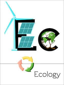 Flash card litera e jest dla ekologii. alfabet naukowy dla dzieci.