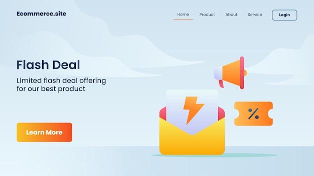 Flash deal kampania koszyka na zakupy dla witryny internetowej strona główna strona główna strona docelowa szablon ulotki banerowej