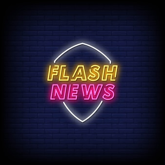 Flash news neon signs style text