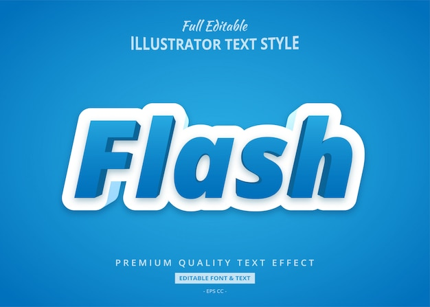Flash niebieski styl tekstu efekt premium