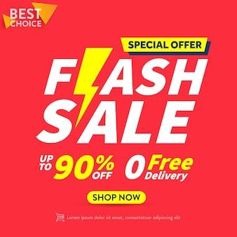 Flash sale shopping plakat lub baner z ikoną flash na czerwonym tle szablon banera flash sales