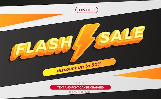 Flash sprzedaż 3d edytowalny efekt tekstowy z symbolem grzmotu. duży baner rabatowy na sprzedaż. plik wektorowy eps