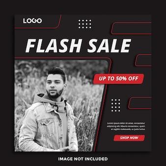 Flash sprzedaż banner szablon mediów społecznościowych post