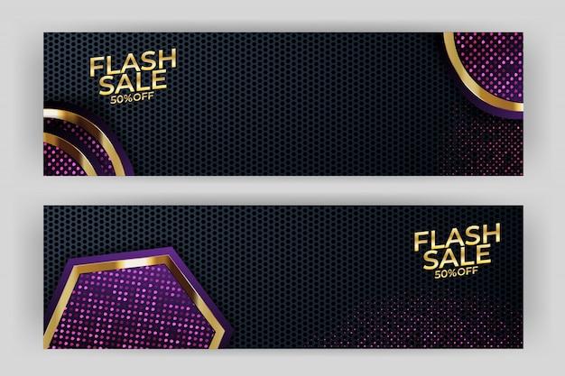 Flash sprzedaż banner ze złotym tłem w stylu premium party