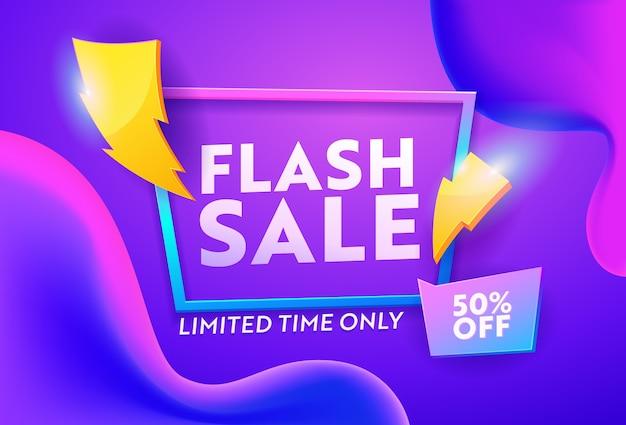 Flash sprzedaż fioletowy gradient poziomy baner