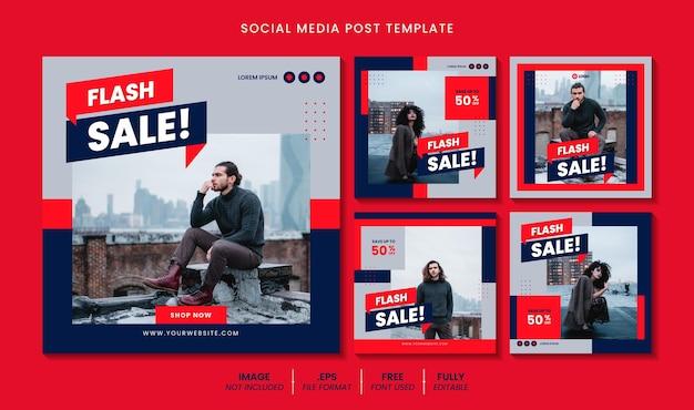 Flash sprzedaż postu w mediach społecznościowych lub koncepcja projektu szablonu banera internetowego