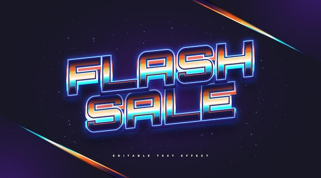 Flash sprzedaż tekst w kolorowym stylu retro z świecącym efektem niebieskiego neonu. edytowalny efekt stylu tekstu