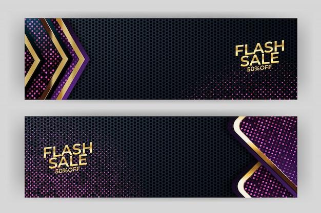 Flash sprzedaż transparent z premią w stylu złote tło