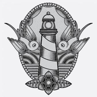 Flash tatuaż latarni morskiej