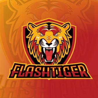 Flash tiger esport logo gaming