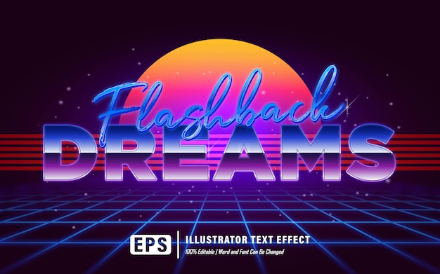 Flashback marzy efekt tekstowy - edytowalny