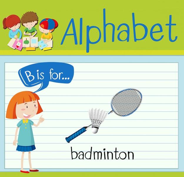 Flashcard litera b jest dla badmintona