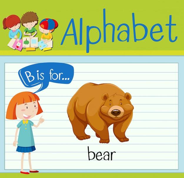 Flashcard litera b jest dla niedźwiedzia