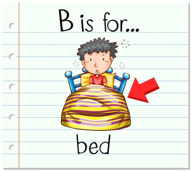 Flashcard litera b jest do łóżka