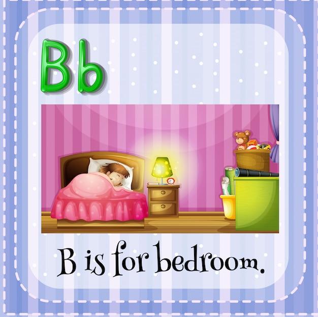 Flashcard litera b jest do sypialni