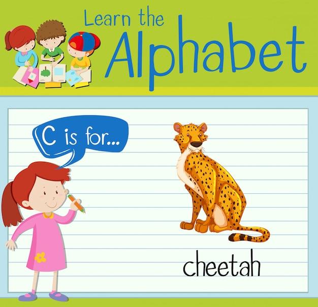 Flashcard litera c jest dla geparda