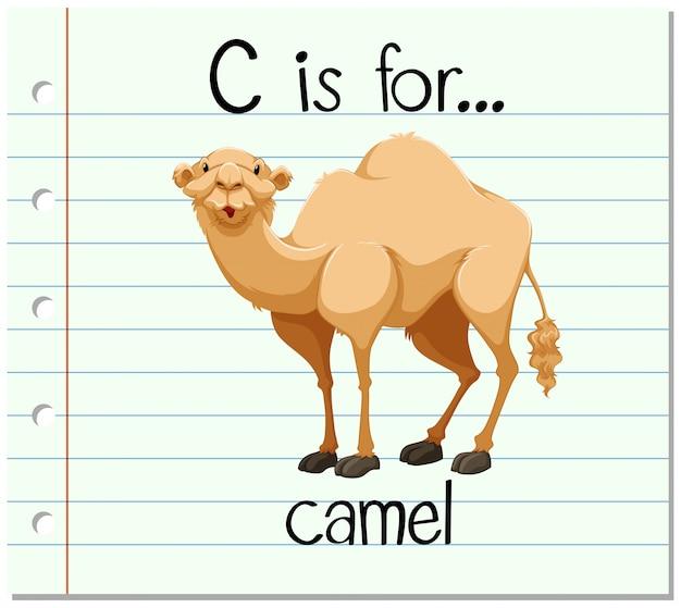 Flashcard litera c jest dla wielbłąda
