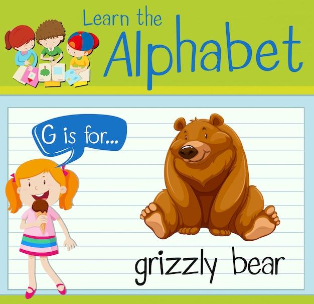Flashcard litera g jest dla niedźwiedzia grizzly