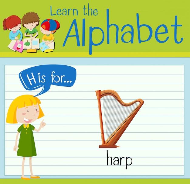 Flashcard litera h jest dla harfy