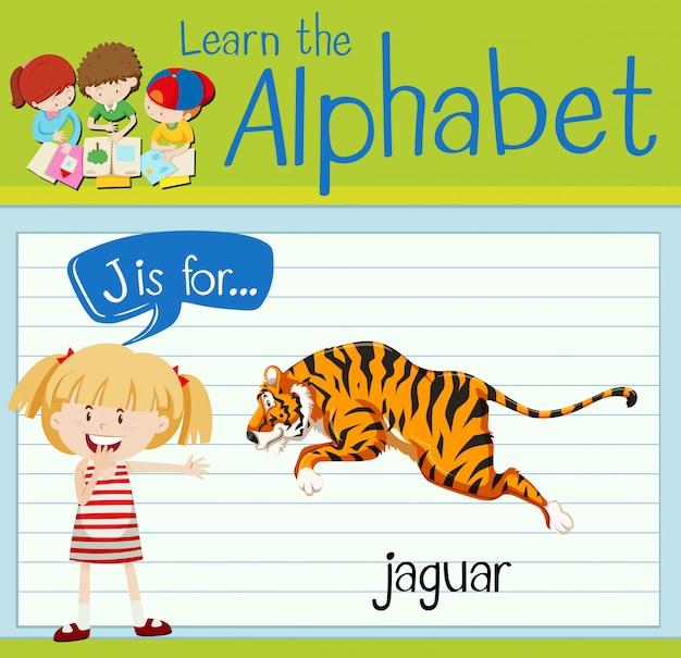 Flashcard litera j jest dla jaguara