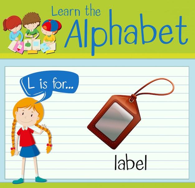 Flashcard litera l jest dla etykiety