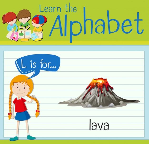 Flashcard litera l jest dla lawy