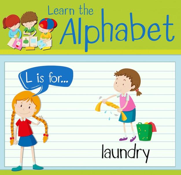 Flashcard litera l służy do prania
