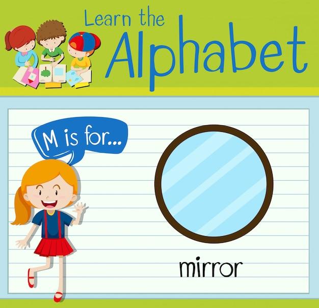 Flashcard litera m jest dla lustra