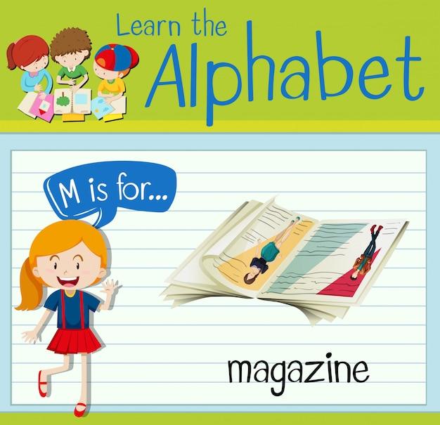 Flashcard litera m jest dla magazynu