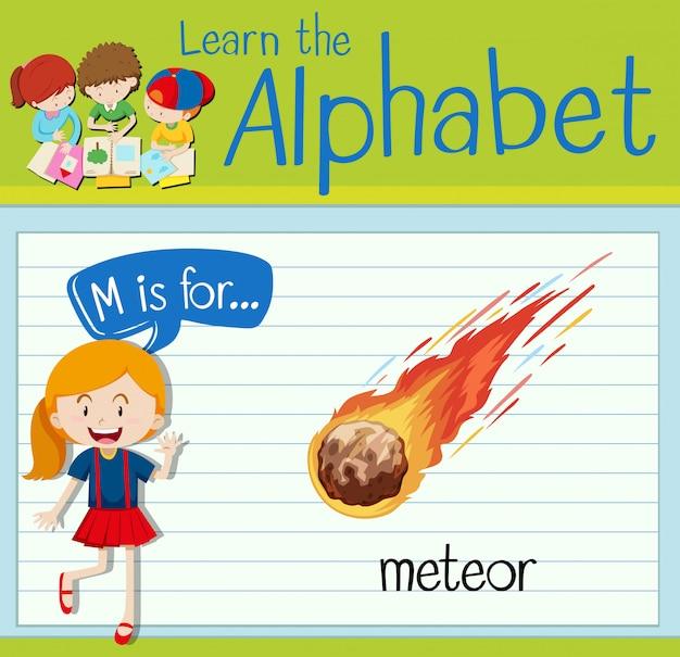 Flashcard litera m jest dla meteoru