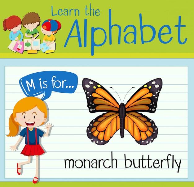 Flashcard litera m jest dla motyla monarchy