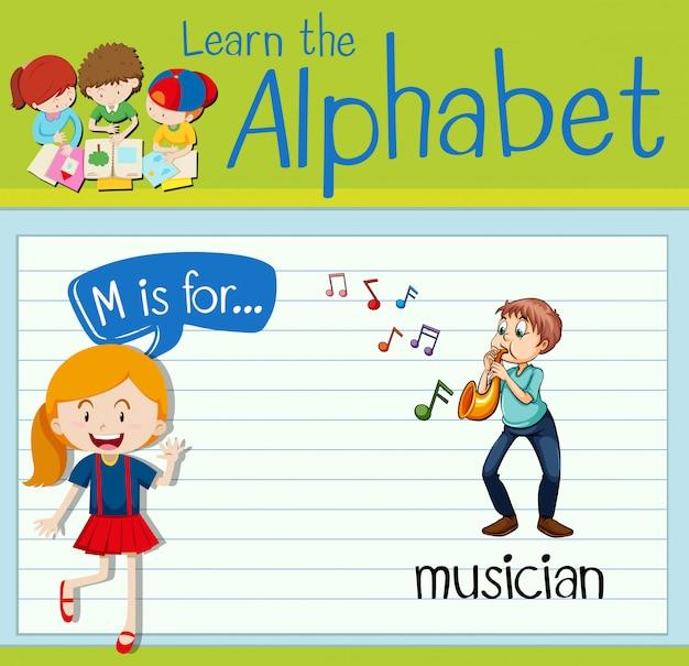 Flashcard litera m jest dla muzyka