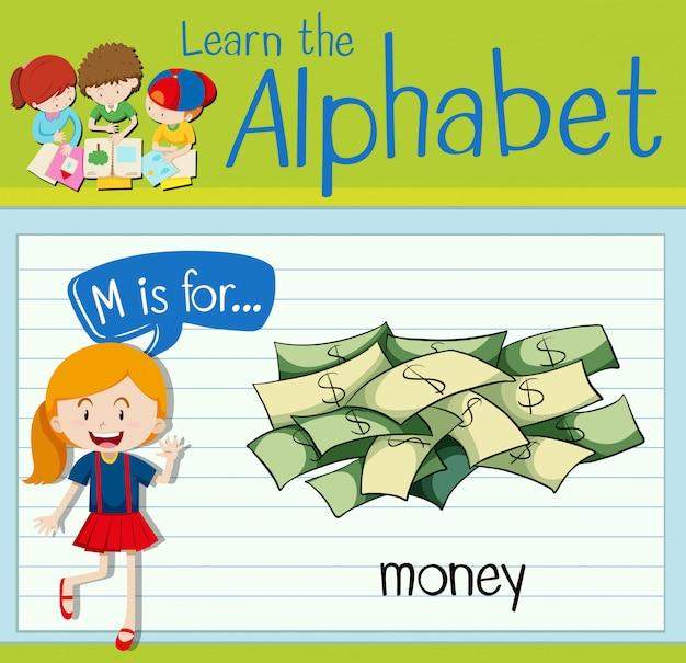 Flashcard litera m jest dla pieniędzy