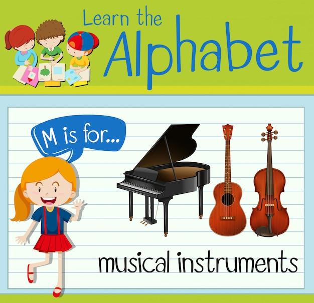 Flashcard litera m jest przeznaczona dla instrumentów muzycznych