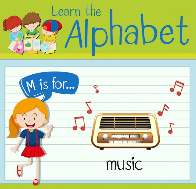 Flashcard litera m przeznaczona jest dla muzyki