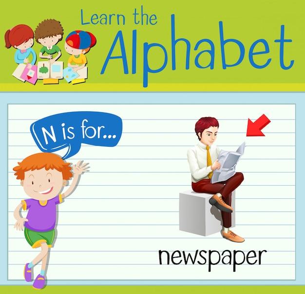 Flashcard litera n jest dla gazety