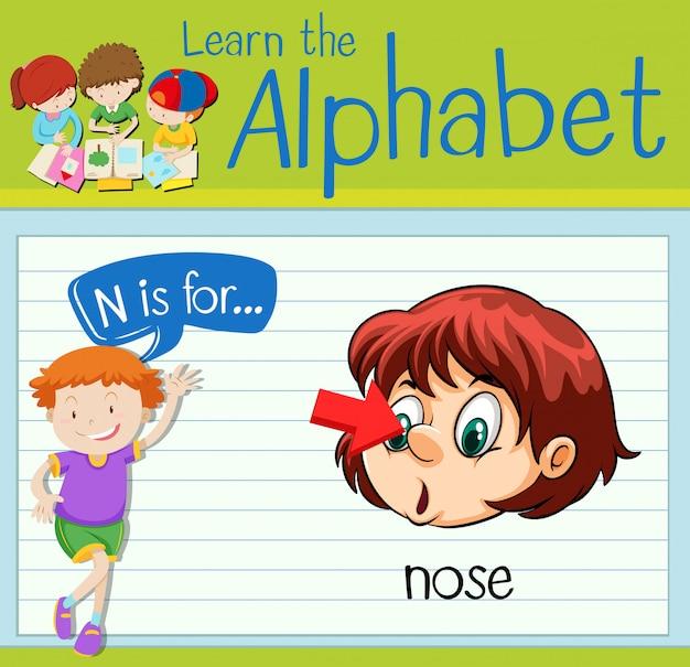 Flashcard litera n jest dla nosa