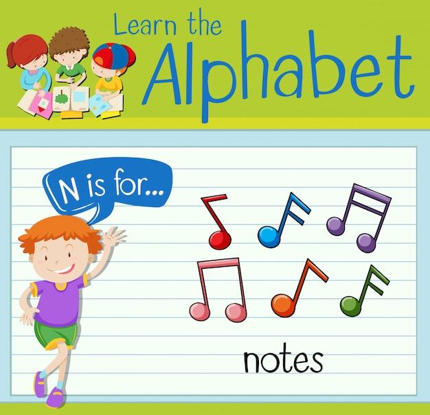 Flashcard litera n jest dla notatek