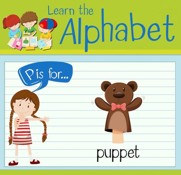 Flashcard litera p jest dla lalek