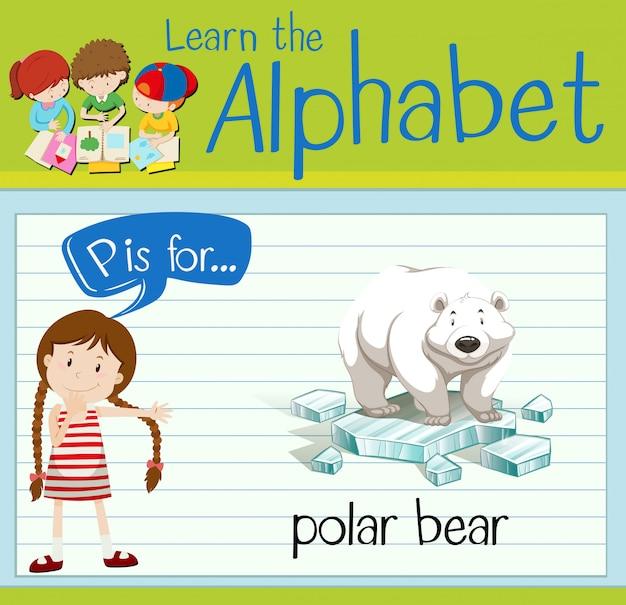 Flashcard litera p jest dla niedźwiedzia polarnego