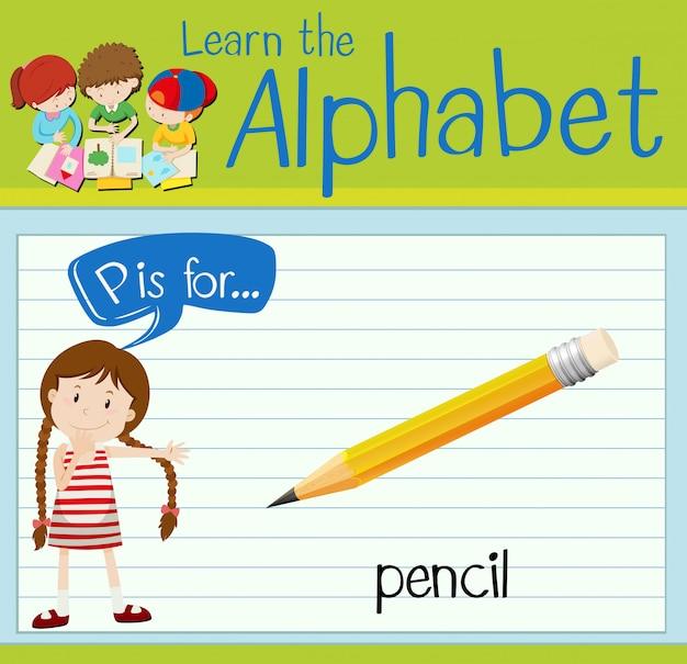 Flashcard litera p jest dla ołówka