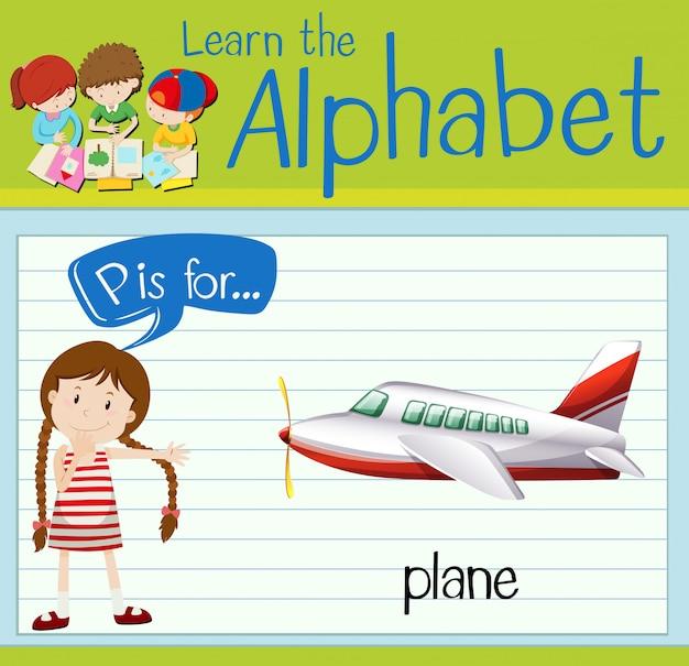 Flashcard litera p jest dla samolotu