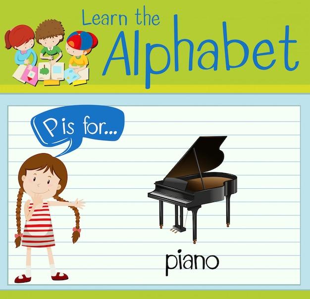 Flashcard litera p jest na fortepian