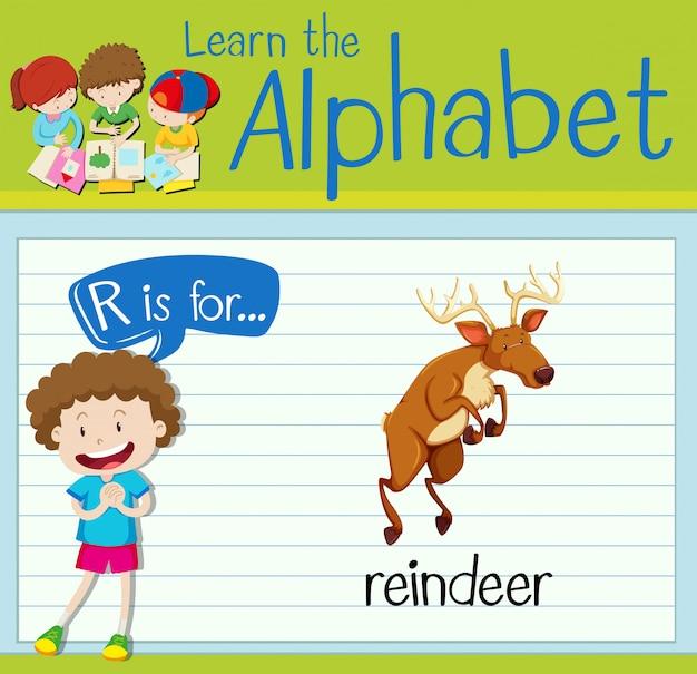Flashcard litera r jest dla reniferów