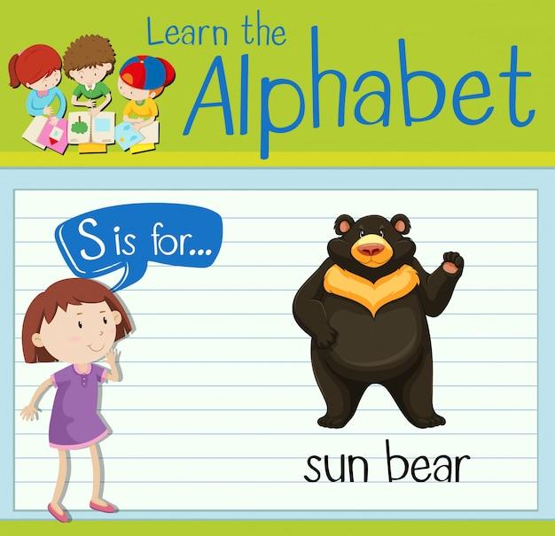 Flashcard litera s jest dla niedźwiedzia słońca