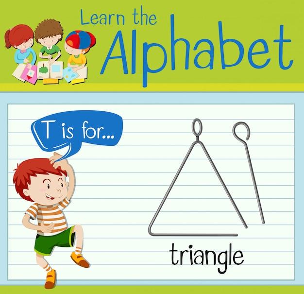 Flashcard litera t jest dla trójkąta